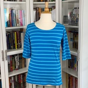Cabela's Blue Striped Scoop Neck 3/4 Sleeve Tee